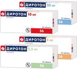 Диротон выпускается в форме таблеток, дозировка разная.