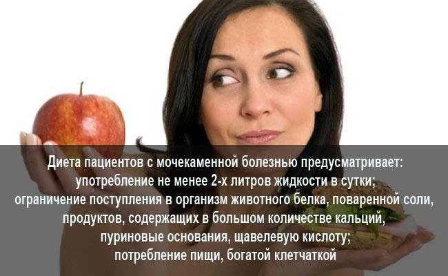 Корректирующая диета при мочекаменной болезни