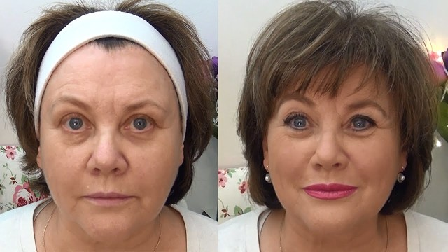 До и после нанесения косметики