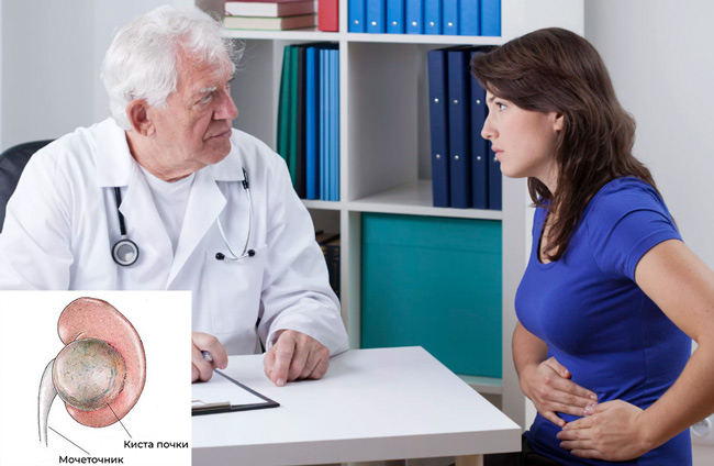 Пациентка жалуется врачу на почечную боль